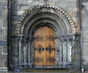 The Romanesqe south portal at St. Mary's church in Bergen