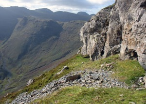 Prehistoric stone axe quarry at Great Langdale in Cumbria