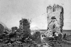 The ruins in 1867. Drawing by Schiertz