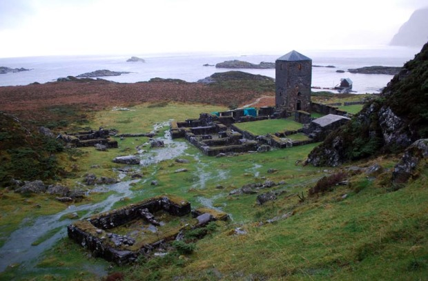 Selja abbey ruins during heavy rain in November 2010