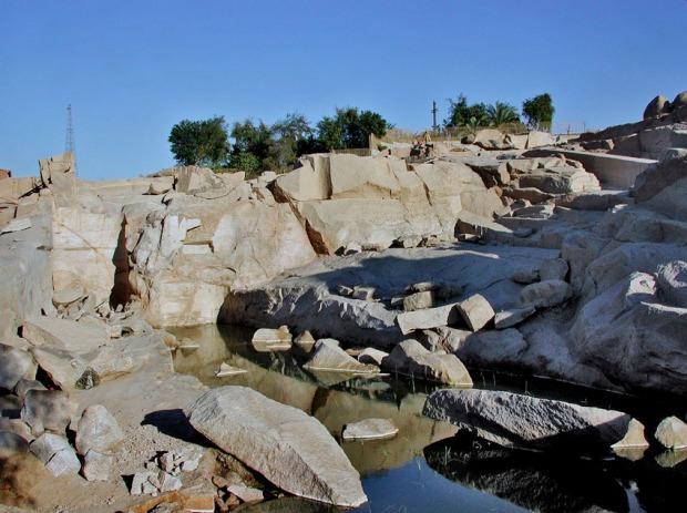 Aswan granite quarry under archaeological excavation 2003