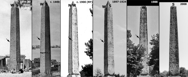 The New York obelisk from the late 1850s until today. Sources: PPOC and Wikipedia
