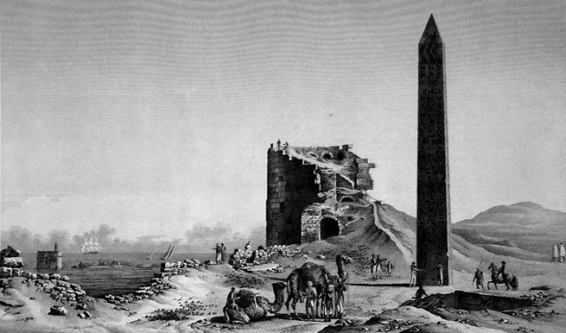 The obelisks at Alexandria around 1800. Source: Description de l'Égypte