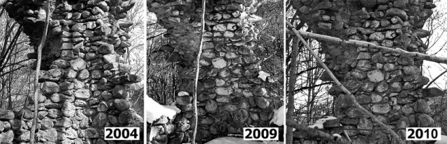Monitoring of a part of ther masonry which shows small changes between 2004 and 2010