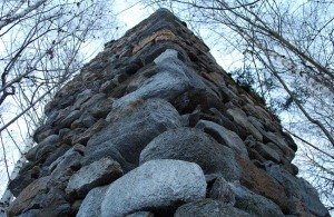 "The outer part of the ""Mauerzahn"" with quoins made from green metaconglomerate (Verrucano)"