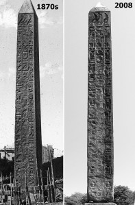 The current south face of the NY obelisk in Alexandria in the 1870s and in Central Park in 2008. Very little weathering has taken place over these c. 140 years. Note that the current west face is more weathered. Images are enhanced. Sources: Flickr (Brooklyn Museum) and Wikipedia