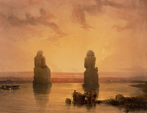 The Memnon Colossi at sunrise. Painting by David Roberts in the 1840s