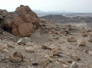 One of the thousands of workplaces for soapstone vessels in the Eastern Desert