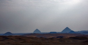 Seen from Saqqara to the pyramids at Dashur