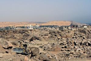 Baksiden av medaljen: Moderne steinbrytning i Aswan foregår i de faraoniske granittbruddene.