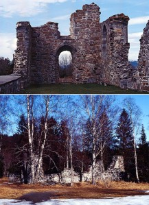 Tautra (top) and Munkeby monastery ruins in the Trondheim region