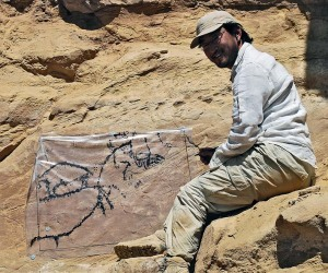 Wouter Claes documenting uncovered Late Palaeolithic rock art
