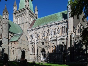 The south side of Nidaros Cathedral - the northernmost medieval cathedral in Europe. It is mainly built from soft metamorphic stone like soapstone and greenschist.