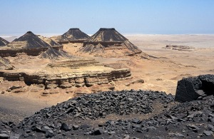 The spectacular landscape at the Old Kingdom basalt quarries at Widan el-Faras in the Northern Faiyum