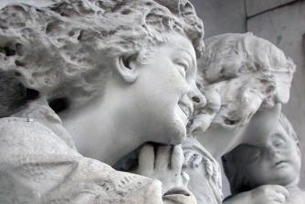 Switzerland (Basel): marble sculpture at the Wolfsgottesacker cemetery