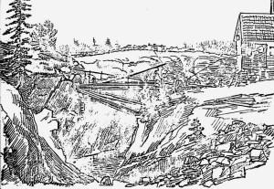 Tegning av Gamle Mørfjær fra 1848. Fra arkivet til Bolvik jernverk, gjengitt i