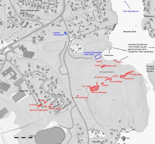 Kart over Neskilgruvene (grunnlag fra norgeskart.no, viktigste kilder: Kjerulf & Dahll 1861, Helland 1904, Vogt 1910, J. H. Simonsens registreringer)