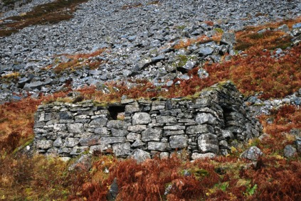 Norway, Selje (west coast): ruined stone hut