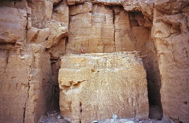 Abandoned, carved out block in the New Kingdom quarry at Qurna, just by the Valley of the Kings in Luxor/Thebes. Note the scale!