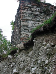 At the edge of the abyss: the Cartatscha ruin by Trun in Surselva, Graubünden, Switzerland