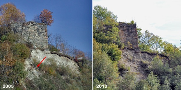The west side of Cartatscha ruin in 2005 and 2010. A former protection measure (arrow) has disappeared