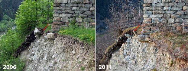 The southwest corner of Cartatscha in 2006 and 2011. Erosion is slow by steady...