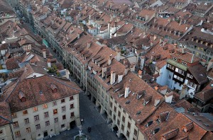 Part of the old city of Berne seen from the tower of Berne Minster