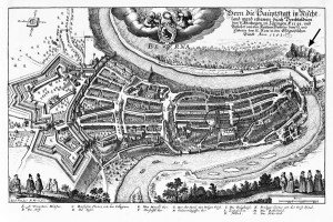 View of the city of Bern in 1638. Copperplate engraving by Matthäus Merian. The Sandflue quarry is marked by an arrow, the minster by a circle.