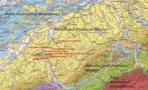 Geologic map of Switzerland with the Bernes sandstone quarries mentioned in the text. (Map 1:500.000, Institut für Geologie, Universität Bern/ Bundesamt für Wasser und Geologie)