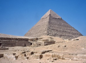 Old Kingdom quarry at Giza. In the background: Chephren's pyramid