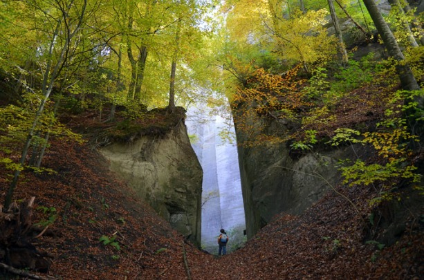 The access cut to an impressive 19th century quarry, 51 m high: Kreuzfluh in Krauchthal