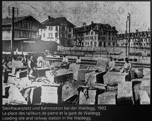 The masons' workplace at Ostermundigen railway station. Source: Photo from station at Wege zu Klee