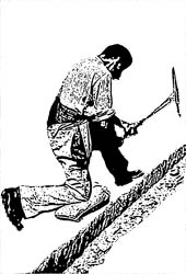 Cutting the trenches with pickaxe. Source: Drawing after photo from Franz Gfeller (in Gisiger 1993, p. 17)