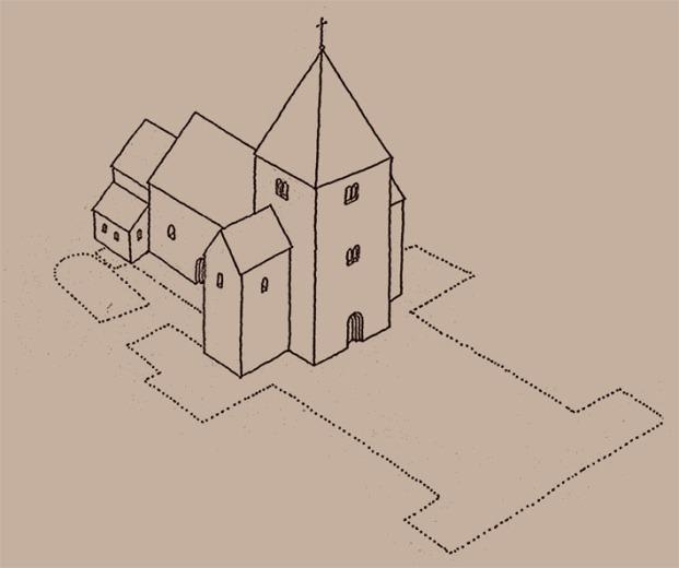 Slik kan Kristkirken i Nidaros ha sett ut omkring 1100 (rekonstruksjon av Øystein Ekroll og Karl-Fredrik Keller)