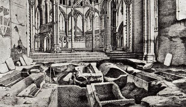 Arkeologisk utgravning i Nidarosdomens kor i 1866. Tegning av H. Jahn (arkivet til Nidaros domkirkes restaureringsarbeider, NDR)