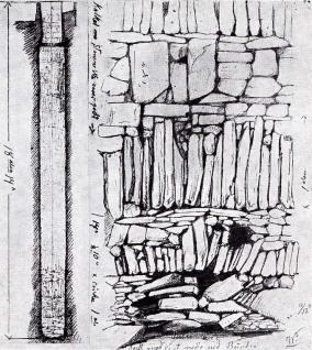 """Olavsbrønnen i Nidarosdomen med """"helleskift"""", kanskje fra sent 1000-tall. Kilde: Tegning av W. Bergstrøm, se Fischer 1965, s. 31"""