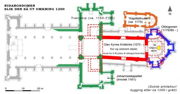 Plan av Kristkirken (rød) sett i forhold til hvordan Nidarosdomen kan ha sett ut omkring 1200. Sammenstilling av grunnplaner etter Fischer 1965