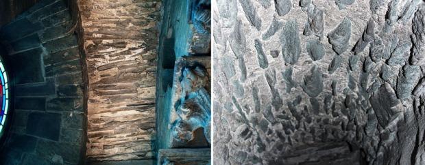Hvelv i murganger i Nidarosdomens tverrskip. Venstre: Sandstein. Høyre: Grønnskifer. Fotos: Per Storemyr