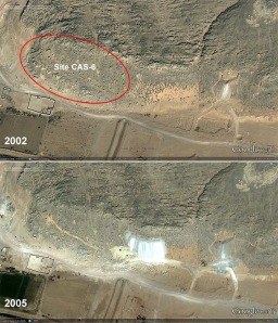 Until now the richest site of Late Palaeolithic rock art in Subeira, CAS-6 was subject to a failed attempt at clay mining between 2002 and 2005, before it was discovered in 2006. Note the road up the hillside. Google Earth imagery.