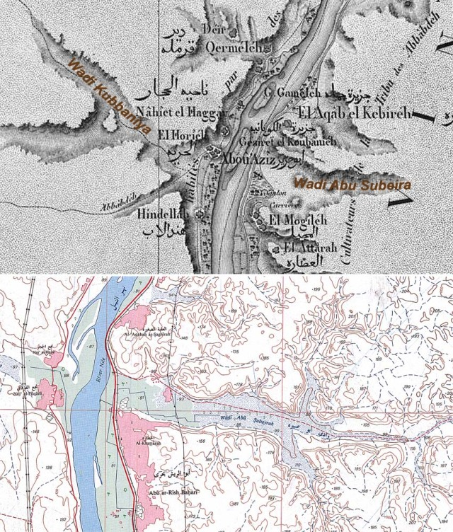 Two maps almost 200 years apart. Subeira as mapped in Description de l' Egypte, vol. 6, Atlas Géographique, p. 20, Planche 2, and by the Egyptian General Survey Authority in 1991 (map sheet NG36B3b Aswan)