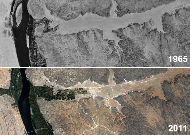 The lowermost 10 km of Wadi Abu Subeira in 1965 (Corona satellite image) and in 2011 (Google Earth). Note the development of agriculture and clay mining (tracks and mines show up as light lines and spots).