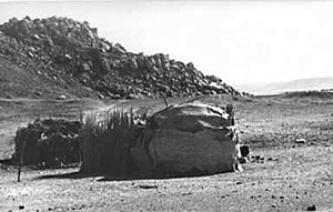 Campsite of Ababda Bedouins in Wadi Abu Subeira in the early 1980s. The rock art site CAS-6 is in the background. Photo: Stephan Seidlmayer, with thanks.