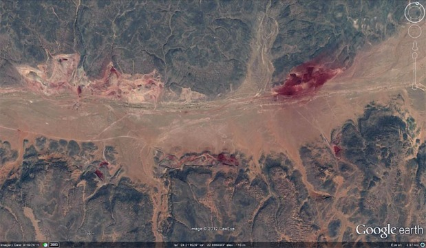 These are the greatly expanding iron mineral (hematite) mines in Wadi Abu Subeira. Source: Google Earth (2011)