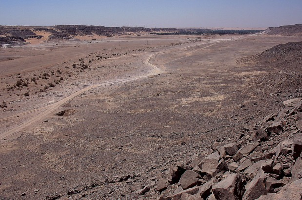 Despite modern activity, Wadi Abu Subeira, here seen towards west, is still a place with Upper Egyptian desert beauty. The stone lines in the foreground belong to an ancient trap for hunting. Photo: Per Storemyr