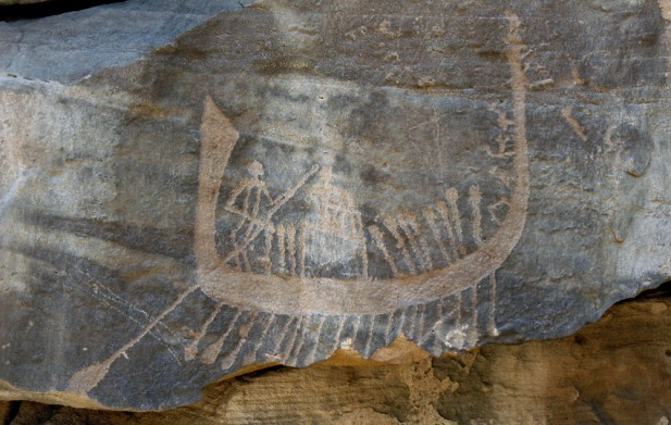Late Predynastic boat at site CAS-2 in Wadi Abu Subeira. Photo: Per Storemyr