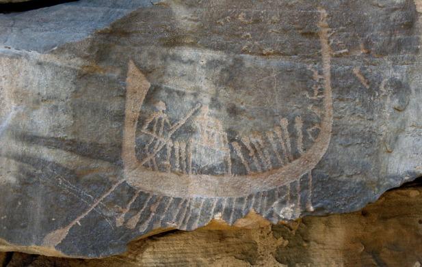 Late Predynastic boat at site CAS-2 in Wadi Abu Subeira. Photo: Per Storemyr