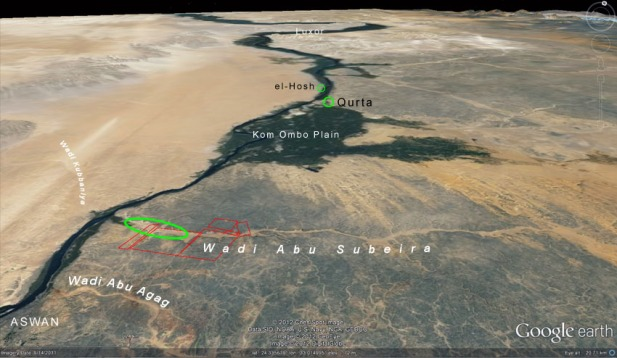 The 60 km long Wadi Abu Subeira and its location in Upper Egypt. Late Palaeolithic  rock art sites are marked with green. The current iron mineral mining concessions in Subeira with red.