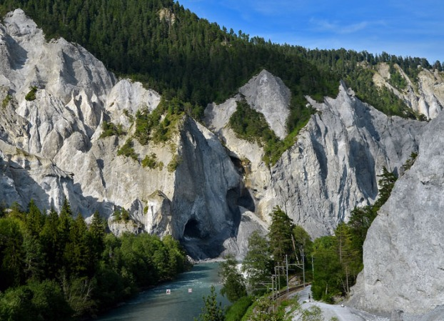 The most spectacular piece of natural heritage in Grisons is Ruinaulta - a gorge through the biggest rock slide in Europe that took place some 10.000 years ago. It dammed the Rhine for a while, and as the dam broke, the river created a magnificent gorge well worth walking through! More info at ruinaulta.ch. Photo: Per Storemyr
