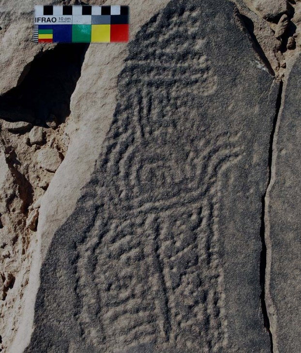 The el-Hosh Epipalaeolithic rock art masterpiece. Photo: Per Storemyr