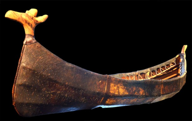 Reconstructed Stone Age skin boat with elk-headed prow in the Alta Museum. Digitally enhanced photo: Per Storemyr
